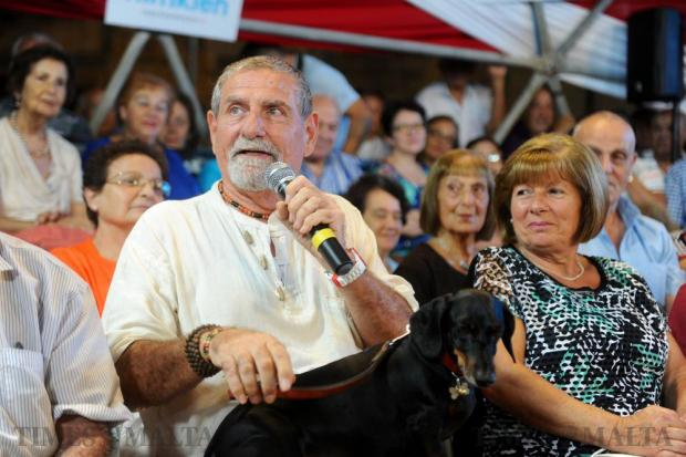 Outspoken TV personality Salvu Mallia participates for the first time in a PN political meeting at the Granaries in Floriana on September 17. Photo: Steve Zammit Lupi