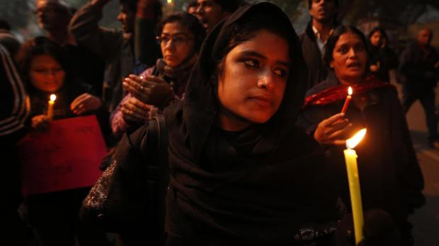 In this December 26 file photo, Indians participate in a candle light vigil to seek a quick recovery of the young victim of the recent brutal gang-rape in a bus in New Delhi.  Photo: Saurabh Das