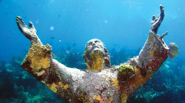 The statue of Christ underwater outside Key Largo, Florida.