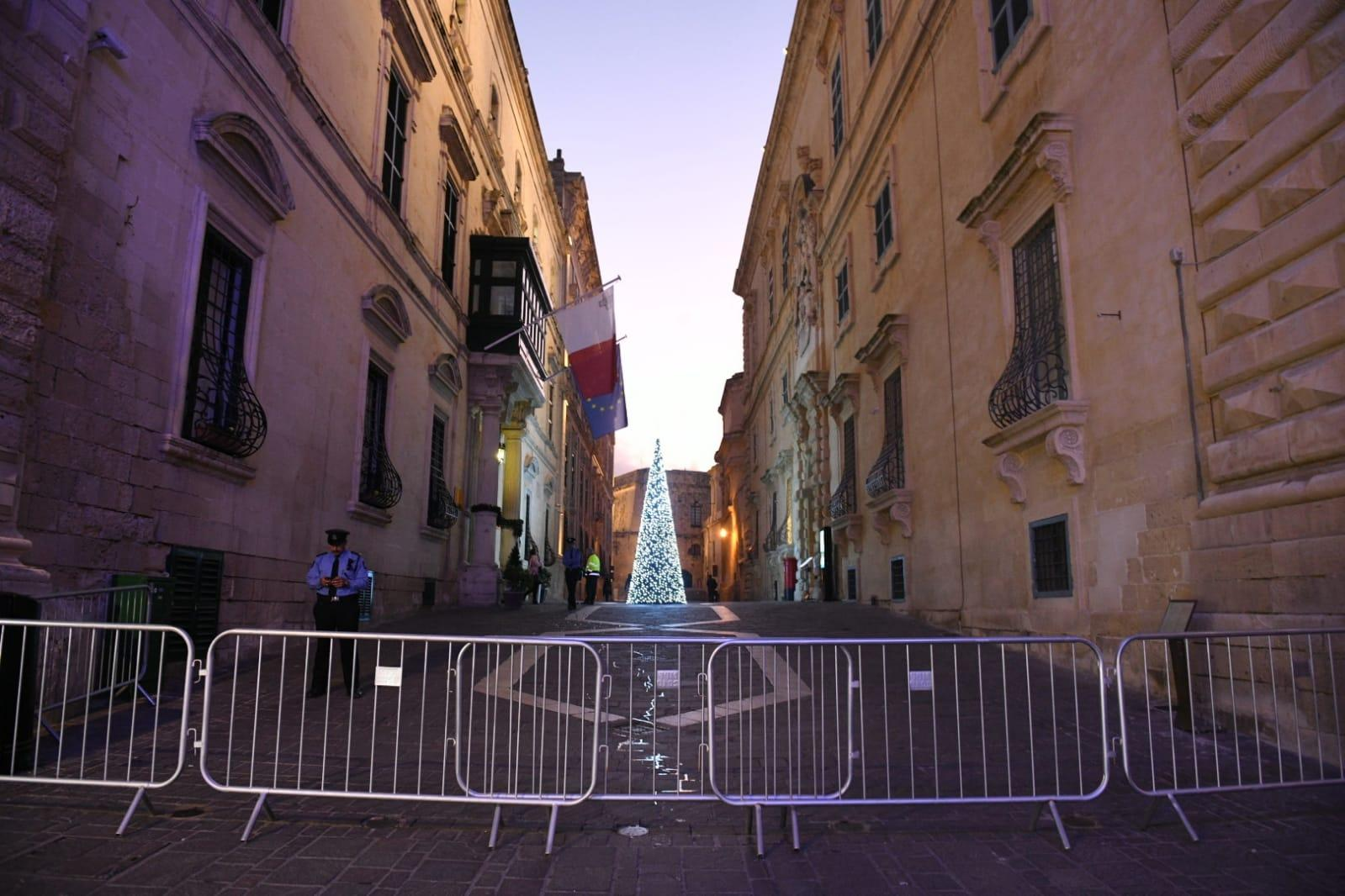 Access to Castille square from Merchant's Street was closed off. Photo: Matthew Mirabelli