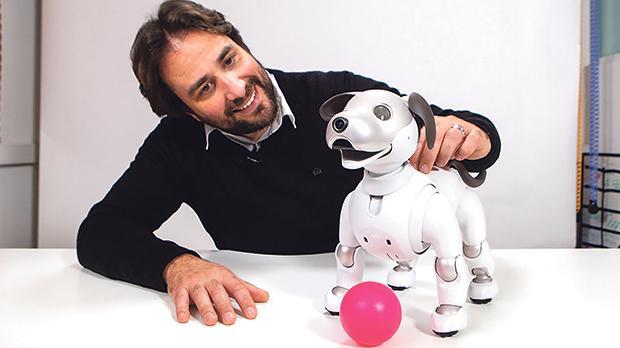 Ian Busuttil Naudi with robot dog.