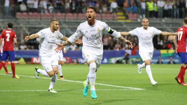 Sergio Ramos celebrates scoring the opening goal. Photo: Reuters