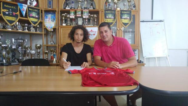 Balzan's new signing Yudai Miyamoto with technical director Vladimir Simovic.