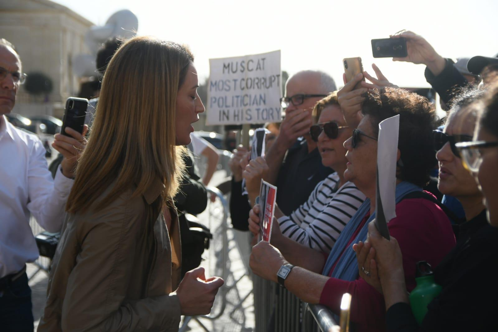 Roberta Metsola speaking to protesters outside Castille on Tuesday morning. Photo: Jonathan Borg