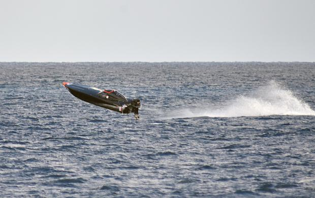A powerboat jumps a wave during races held at Mellieha bay on March 24. Photo: Mark Zammit Cordina