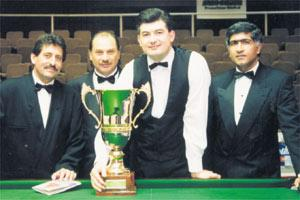 The original Snooker Promotions trio (from left) Joe Zammit, Wilfred Sultana and Richard Balani with John Parrott, winner of the first Rothmans Grand Prix in 1994