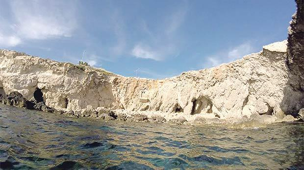 The 'mysterious' Għar Lapsi coastal cliff balcony as seen from a distance. Photo: Facebook