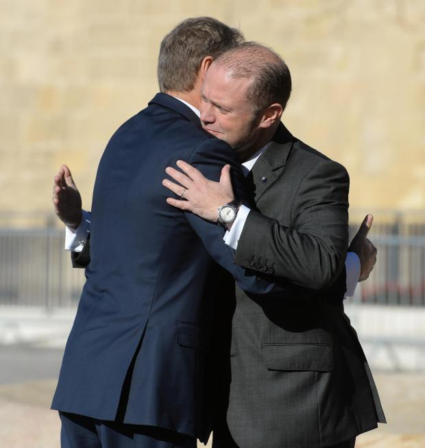 President of the European Council Donald Tusk (left) is greeted by Malta Prime Minister Joseph Muscat as he arrives in Valletta, on March 31st. Photo: Matthew Mirabelli
