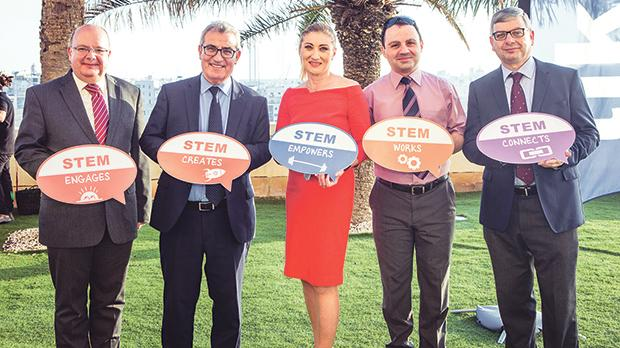 Education Minister Evarist Bartolo (second from left) with (from left) DLAP director Gaetano Bugeja, and assistant directors Desiree Scicluna Bugeja, David Degabriele and Louis Scerri.