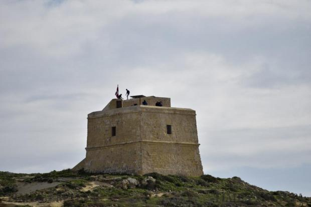 Two people stand on top of the San Lawrenz Tower Gozo on January 11 Photo: Mark Zammit Cordina