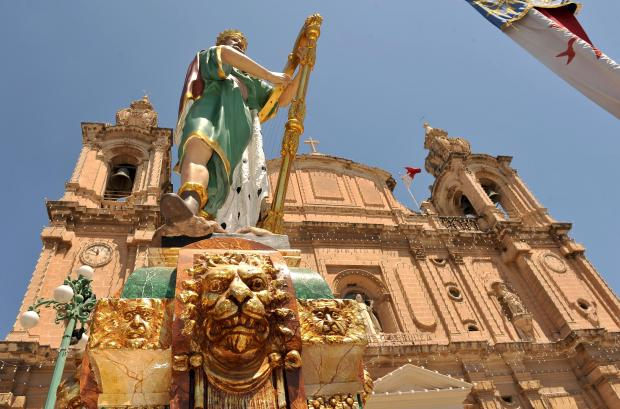 The Msida Parish Church adorned with decorations ahead of the feast on July 17. Photo: Chris Sant Fournier
