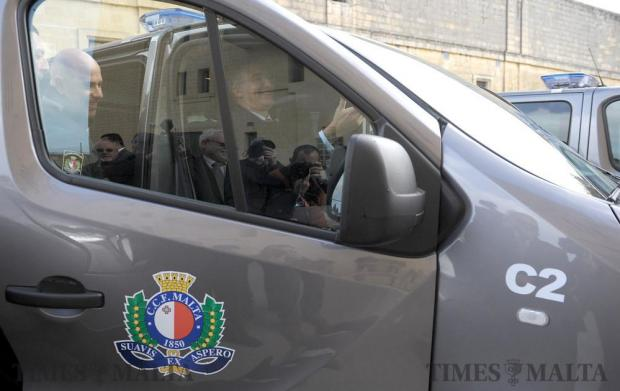 Minister for Home Affairs Carmelo Abela sits in the driving seat of one of the new vans at the Corradino Correctional Facilty in Paola on January 6. Photo: Matthew Mirabelli