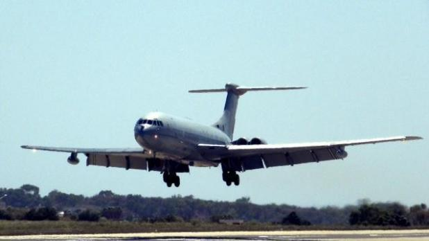 A VC-10 lands in Malta two years ago.