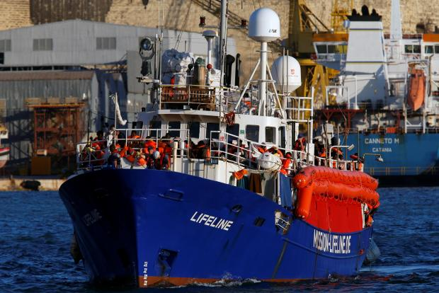The Lifeline arriving at Boiler Wharf in Senglea. Photo: Reuters