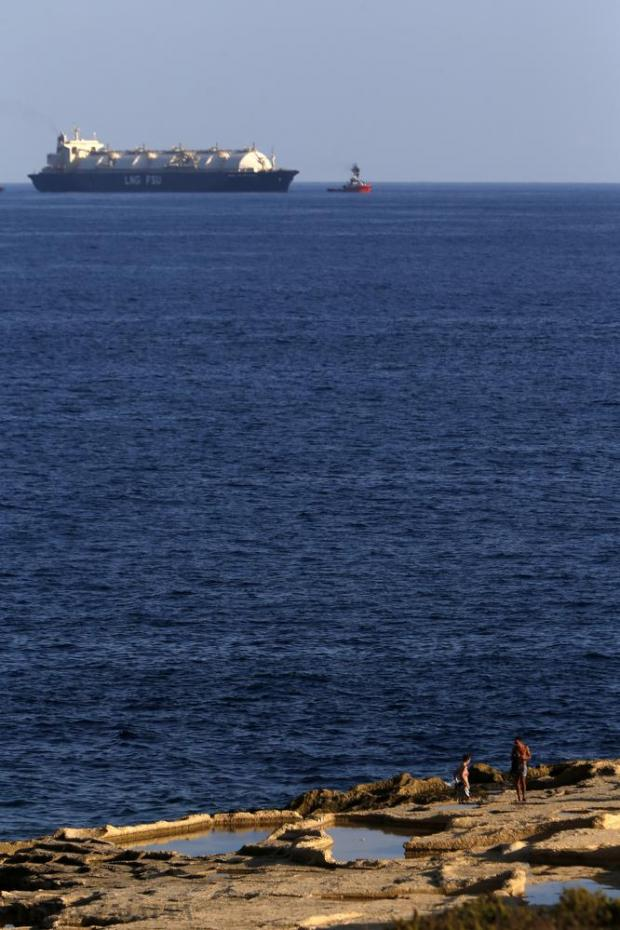 The LNG tanker Armada Mediterrana is seen moored off Delimara on October 18. Photo: Darrin Zammit Lupi