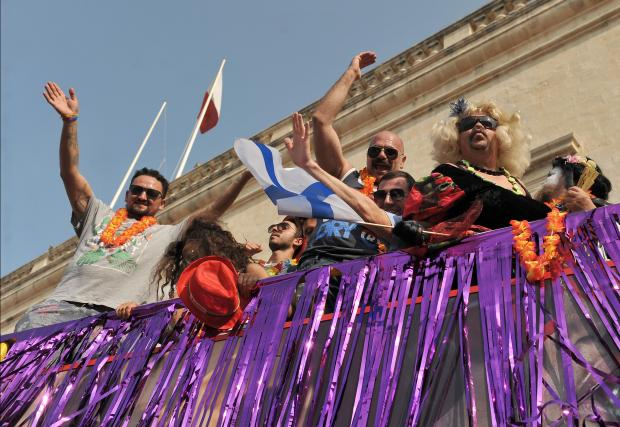 Revellers celebrate on a truck at the Gay Pride Celebration in Valletta on September 9. Photo: Chris Sant Fournier