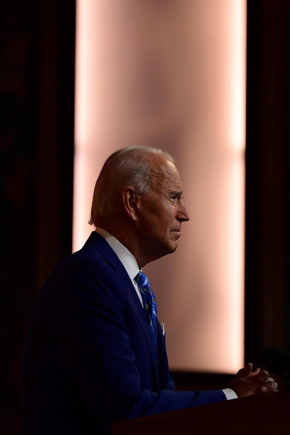 President-elect Joe Biden delivers a Thanksgiving address at the Queen Theatre on November 25, 2020 in Wilmington, Delaware. Photo: Getty Images/AFP