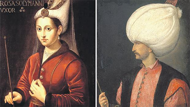 Roxelana, Süleyman's favoured concubine, later to become his wife. Anon., 16th century,  Jak Amran Collection, Istanbul. Right: Süleyman the Magnificent, by Titian. Kunsthistorisches Museum, Vienna.