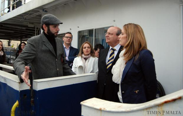 Moas founder Chris Catrambone (left) shows MEP Roberta Metsola and Nationalist MP Francis Zammit Dimech around the Phoenix on January 16. Photo: Mark Zammit Cordina