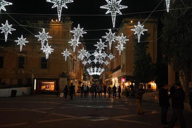 Christmas lights switched on in Valletta