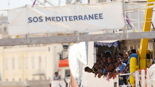 Migrants are seen onboard the humanitarian ship Aquarius in Malta earlier this month.