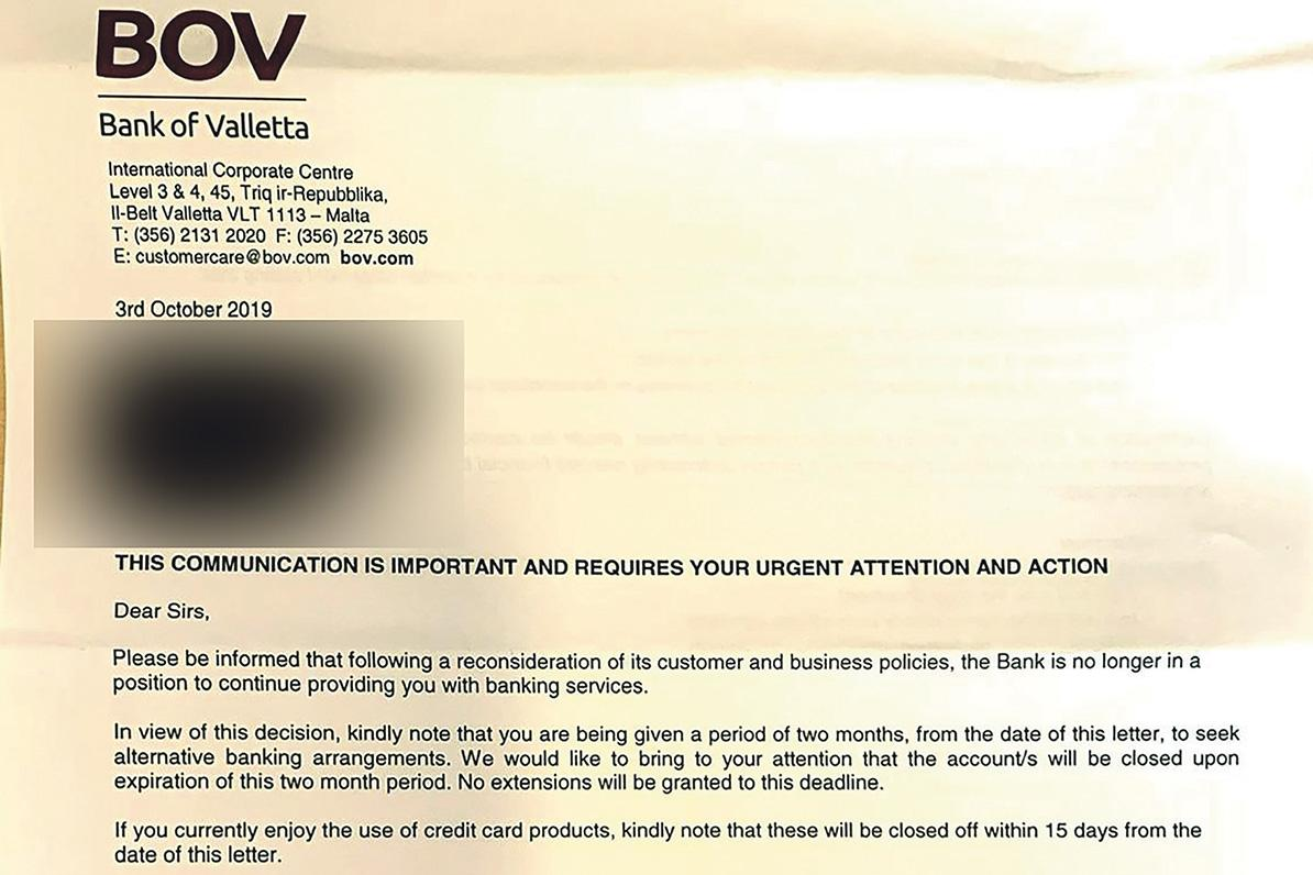 An extract from a letter sent out by BOV. Companies have been given two months to 'seek alternative banking arrangements'.