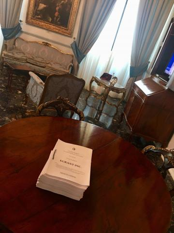 The Egrant inquiry report sitting on a desk at the Office of the Prime Minister.