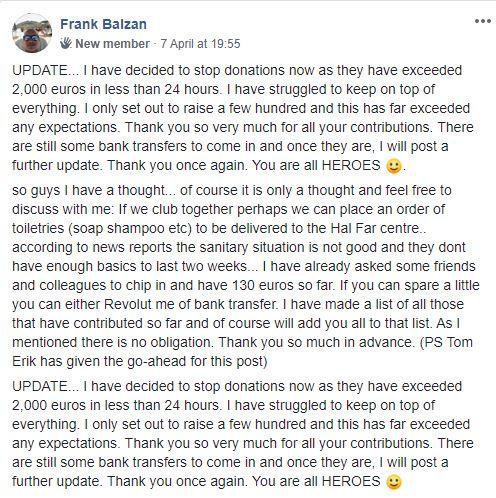 Frank Tropman, who goes by Frank Balzan on Facebook, was overwhelmed by the response to his fundraising appeal.
