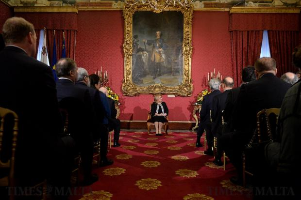 President of Malta Marie Louise Coleiro Preca listens to the New Years greetings from the Diplomatic community at the Palace in Valletta on January 19. Photo: Matthew Mirabelli