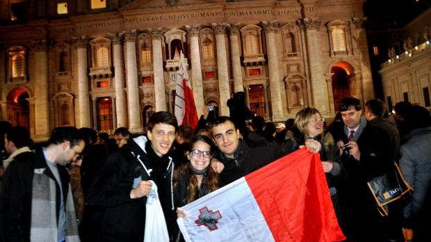 Kyle Bonello, Katrina Gauci and Andrea Bianco were among several Maltese at St Peter's Square last night.