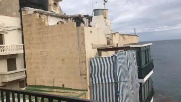 Watch: Construction rubble rains down on Marsalforn restaurant