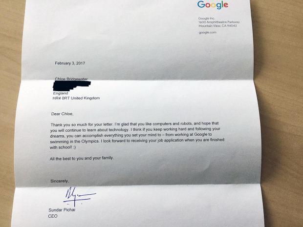 Girl, 7, 'over the moon' as Google chief replies to job