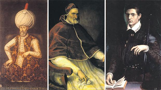 From left: Spanish Senate. Anonymous painting,  XVII century, Pope Pius IV, Tiziano School (ca. 1560). Cantalupo in Sabina (Rieti), Collezione Camuccini and Alfonso II d'Este, portrait by Girolamo da Carpi.