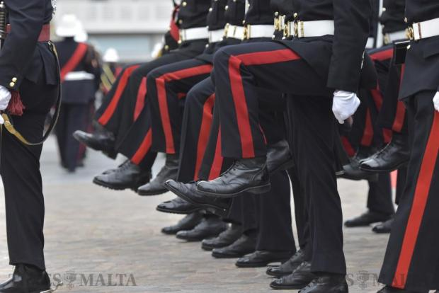 Members of the Armed Forces of Malta march on the spot during the Republic Day parade in Valletta on December 13. Photo: Mark Zammit Cordina