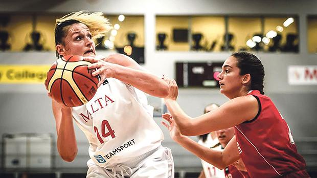 Josephine Grima (left) in action against Gibraltar during the European Championship for Small States in Cork, Ireland, earlier this month. Malta won bronze.
