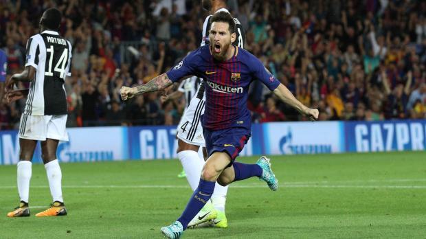 Lionel Messi wheels away after scoring against Juventus.