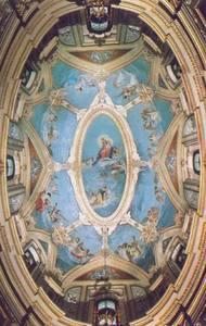 """The elliptical dome of the Carmelite church in Mdina showing the angels """"supporting"""" the central painting with their wings. Picture reproduced from Il-Karmelitani Fl-Imdina by P. Serafin Abela Ocarm."""