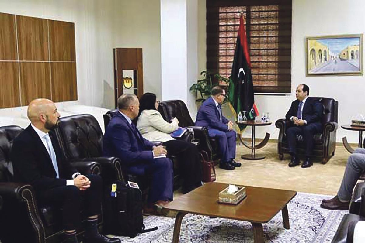 Neville Gafà (far left) and next to him Colonel Clinton O'Neil, head of the AFM's Operations, Plans & Intelligence at the meeting with Ahmed Maiteeq, Libyan Deputy Prime Minister (far right).