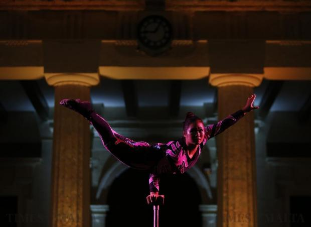 An acrobat of the Puyang Acrobatics Troupe from Henan Province in China performs in St George's Square in Valletta on September 17. Photo: Darrin Zammit Lupi