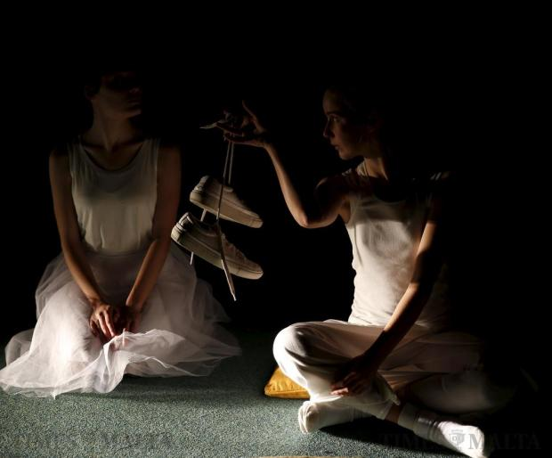 "Students of the School of Performing Arts of the University of Malta take part in a dress rehearsal of ""White"" at the Valletta campus of the University of Malta on March 8. Photo: Darrin Zammit Lupi"