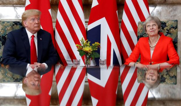 U.S. President Donald Trump and British Prime Minister Theresa meet at Chequers in Buckinghamshire.
