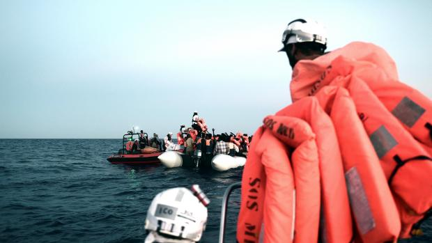 Lifejackets for migrants rescued by the MV Aquarius. Photo: Reuters