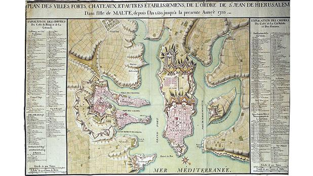 Valletta, Floriana and the Three Cities' fortifications/town plans in 1733.
