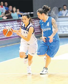 Luxol's Sarah Pace (left) is closely marked by Milica Stefanovic, of Gżira Athleta, on Saturday. Photo: Wally Galea