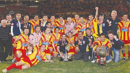 Birkirkara players and officials in jubilant mood after winning the FATrophy final against Ħamrun Spartans. Photo: Matthew Mirabelli.