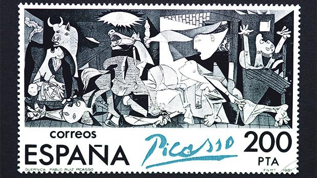 A postage stamp printed in Spain, showing an image of Guernica, a Pablo Picasso painting, circa 1981.