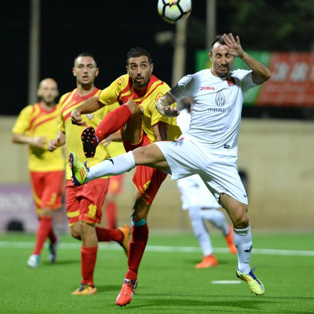 Senglea's Jonathan Borg (left) and Valletta's Michael Mifsud clash during their BOV Premier League match at Centenary Stadium in Ta' Qali on August 25. Photo: Matthew Mirabelli