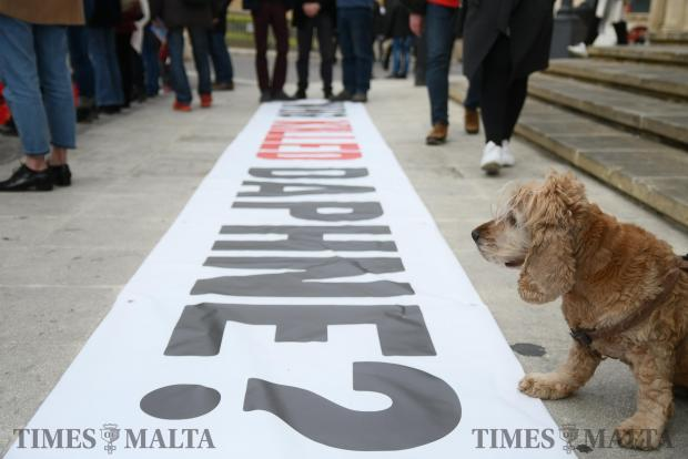 A dog stands over a banner during a protest outside Castille on February 17 Photo: Jonathan Borg