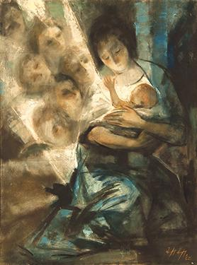 Nativity, Willie Apap (1918-1970), private collection, 1962, oil on canvas. Photo: Joe Attard