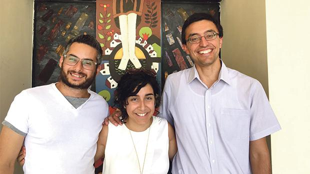 New University chaplain Fr Mark Cachia SJ (right) with lay pastoral ministers Christian Mintoff and Sara Zingariello at the University Chaplaincy.